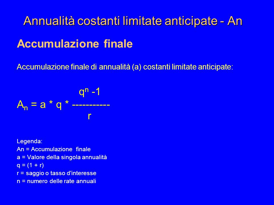 Annualità costanti limitate anticipate - An