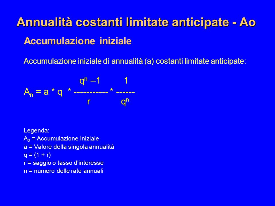 Annualità costanti limitate anticipate - Ao