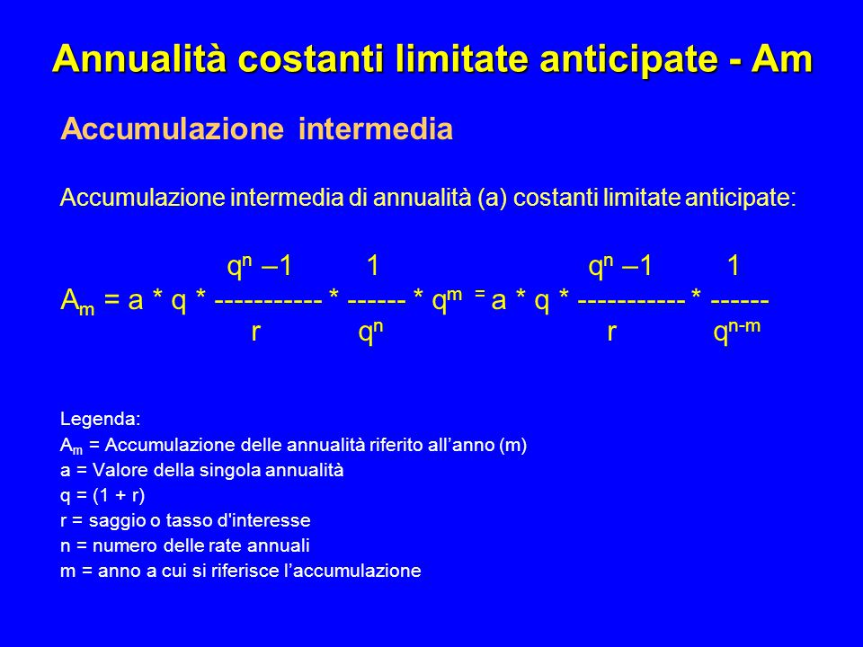 Annualità costanti limitate anticipate - Am