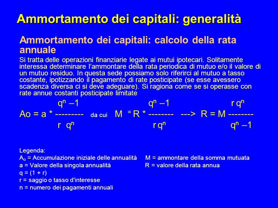 Ammortamento dei capitali: generalità