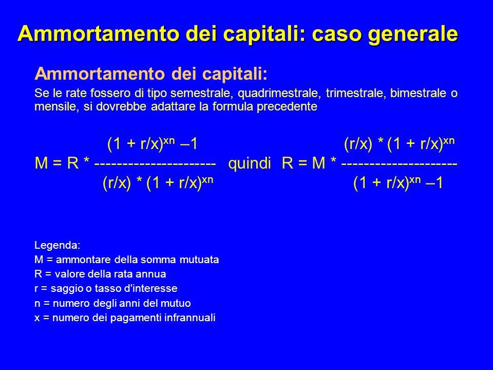 Ammortamento dei capitali: caso generale