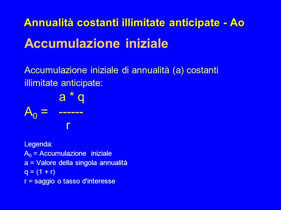 Annualità costanti illimitate anticipate - Ao