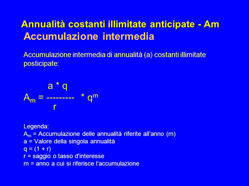 Annualità costanti illimitate anticipate - Am