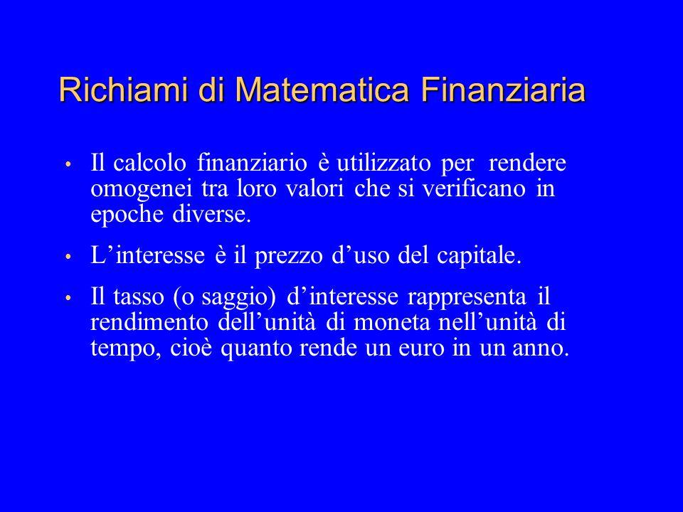Richiami di Matematica Finanziaria