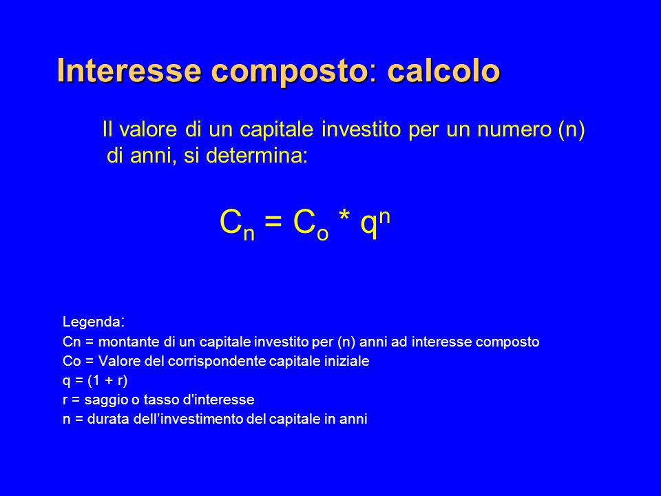 Interesse composto: calcolo