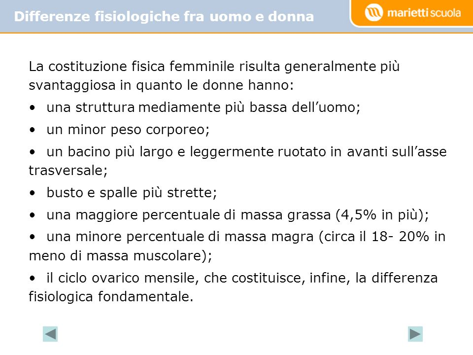 Differenze fisiologiche fra uomo e donna