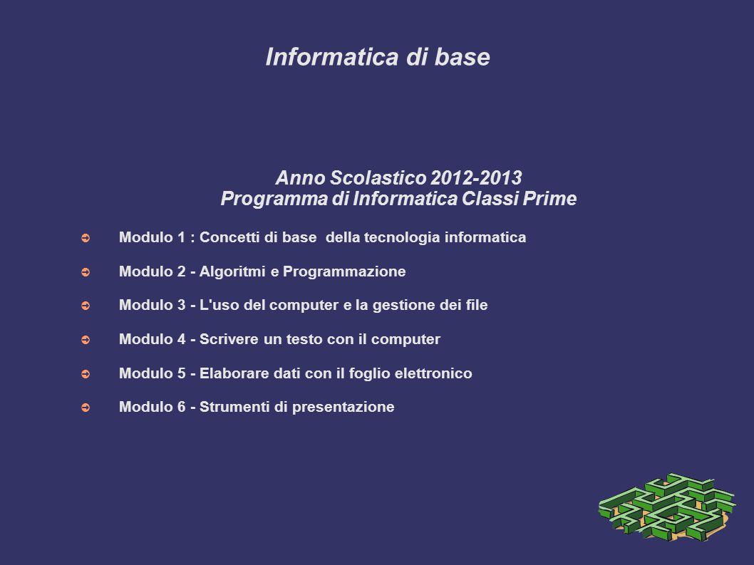 Programma di Informatica Classi Prime