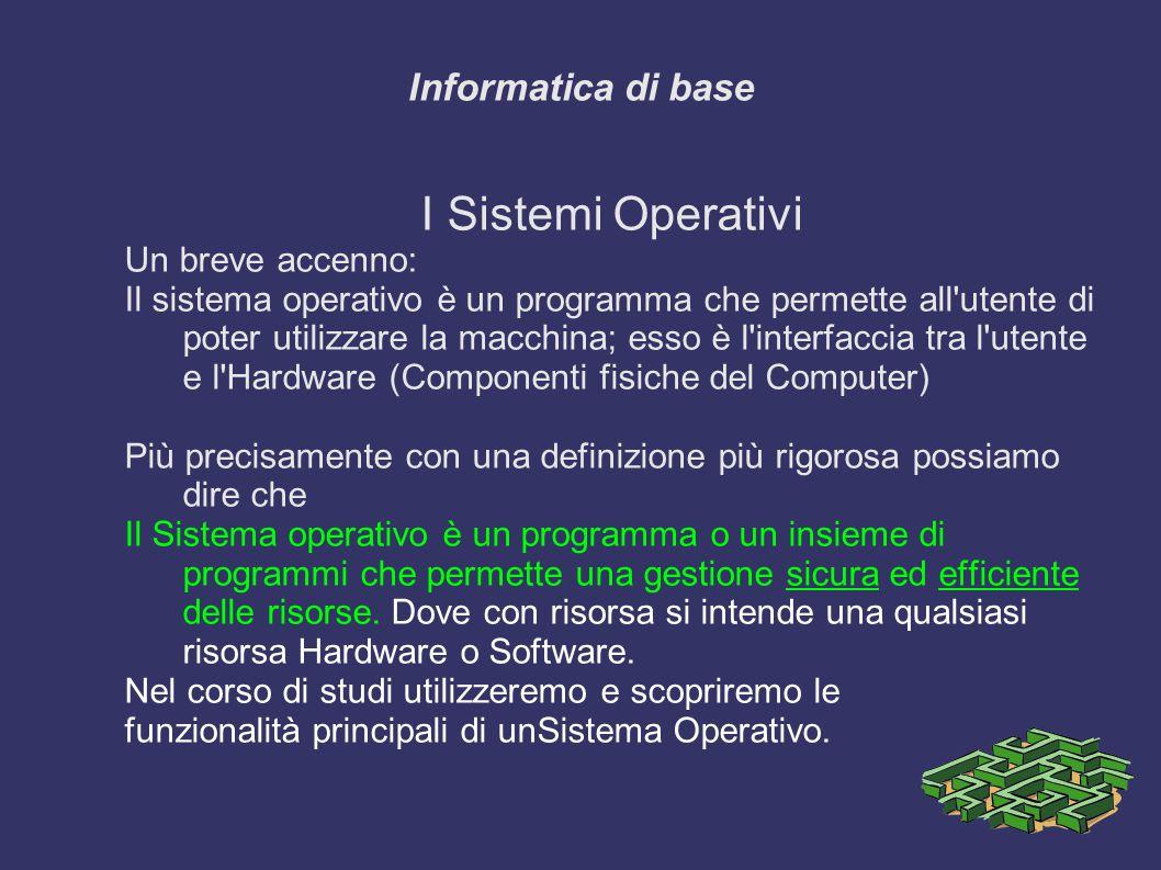 I Sistemi Operativi Informatica di base Un breve accenno: