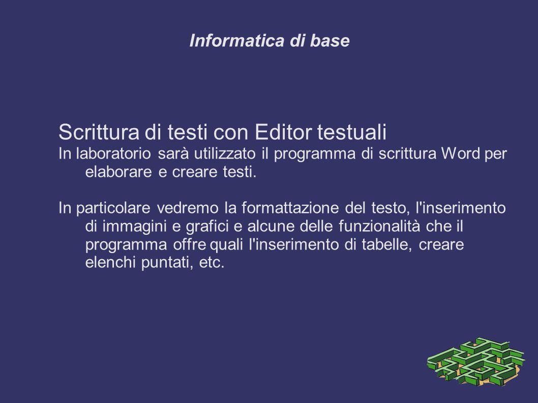 Scrittura di testi con Editor testuali