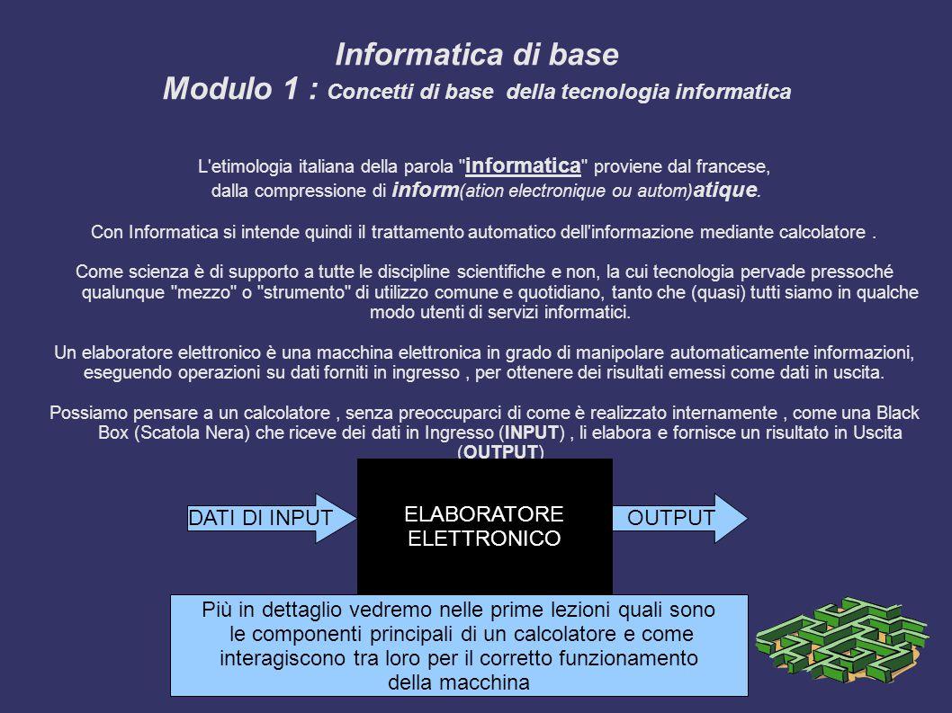 Informatica di base Modulo 1 : Concetti di base della tecnologia informatica