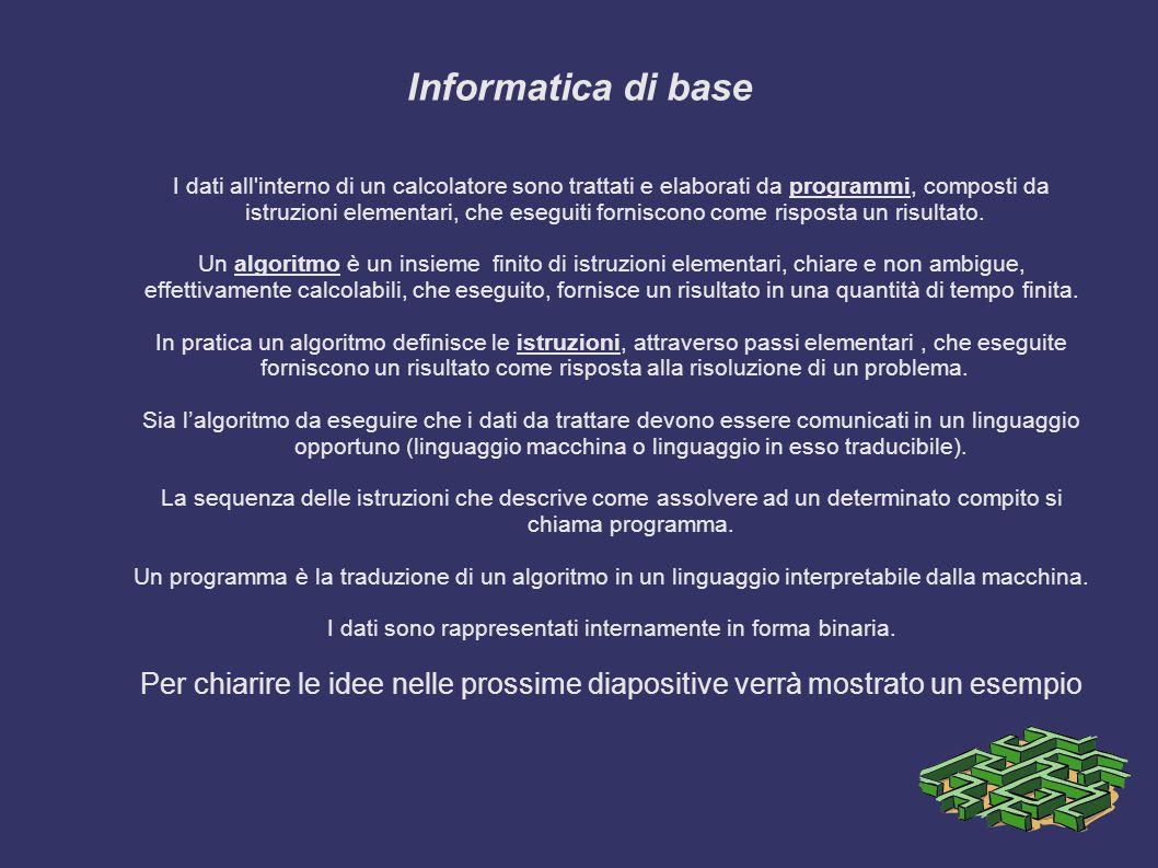 Informatica di base I dati all interno di un calcolatore sono trattati e elaborati da programmi, composti da.