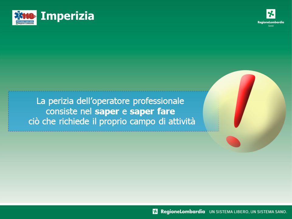Imperizia La perizia dell'operatore professionale consiste nel saper e saper fare ciò che richiede il proprio campo di attività.