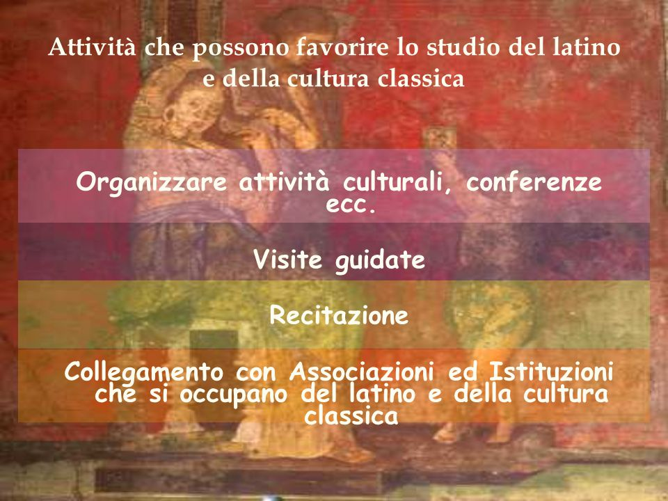 Organizzare attività culturali, conferenze ecc.