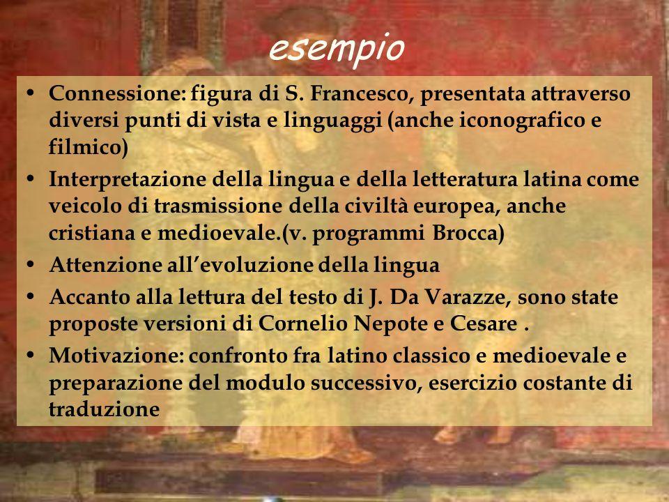 esempio Connessione: figura di S. Francesco, presentata attraverso diversi punti di vista e linguaggi (anche iconografico e filmico)