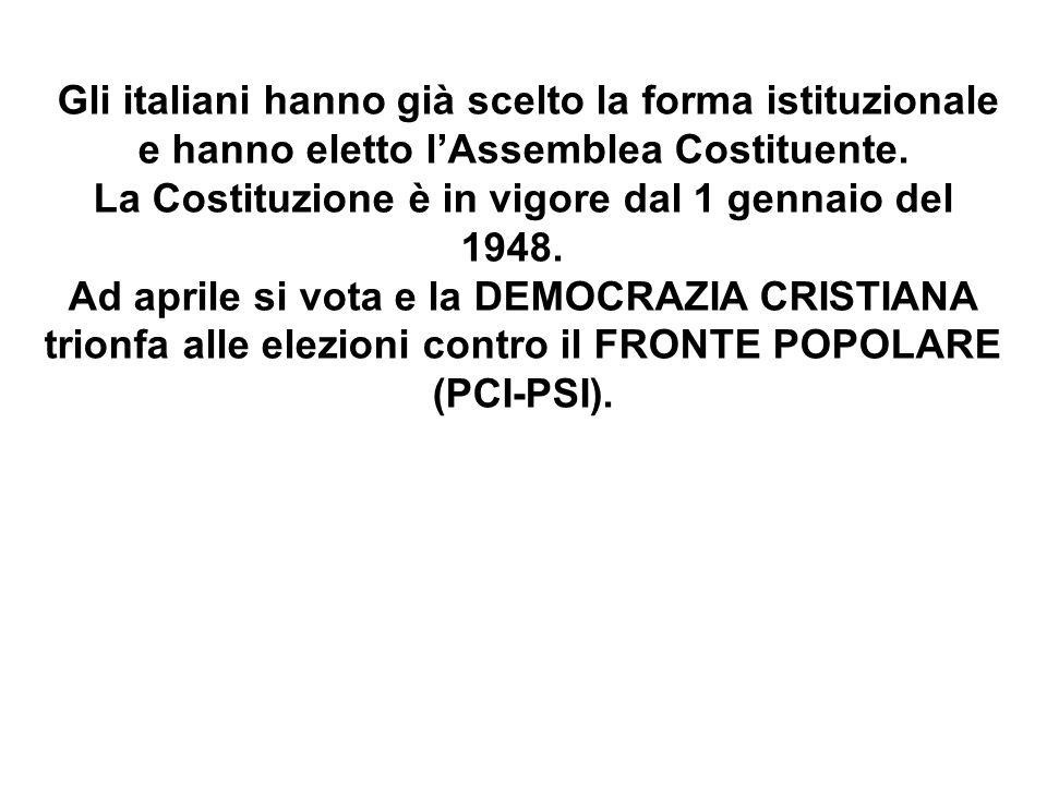 Gli italiani hanno già scelto la forma istituzionale e hanno eletto l'Assemblea Costituente. La Costituzione è in vigore dal 1 gennaio del 1948.
