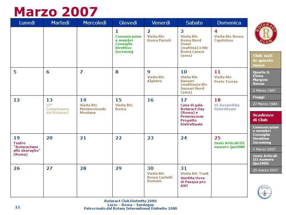 Marzo 2007 Lunedì Martedì Mercoledì Giovedì Venerdì Sabato Domenica 1