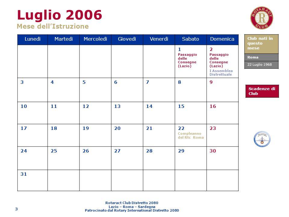 Luglio 2006 Mese dell'Istruzione