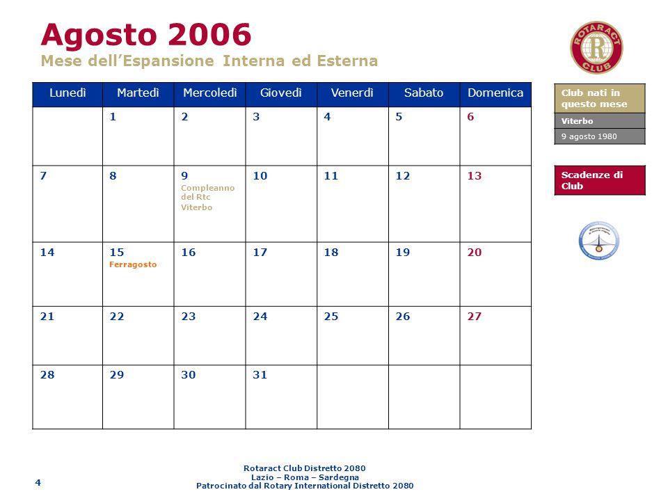 Agosto 2006 Mese dell'Espansione Interna ed Esterna