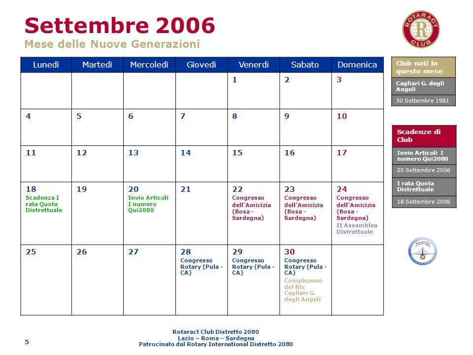 Settembre 2006 Mese delle Nuove Generazioni