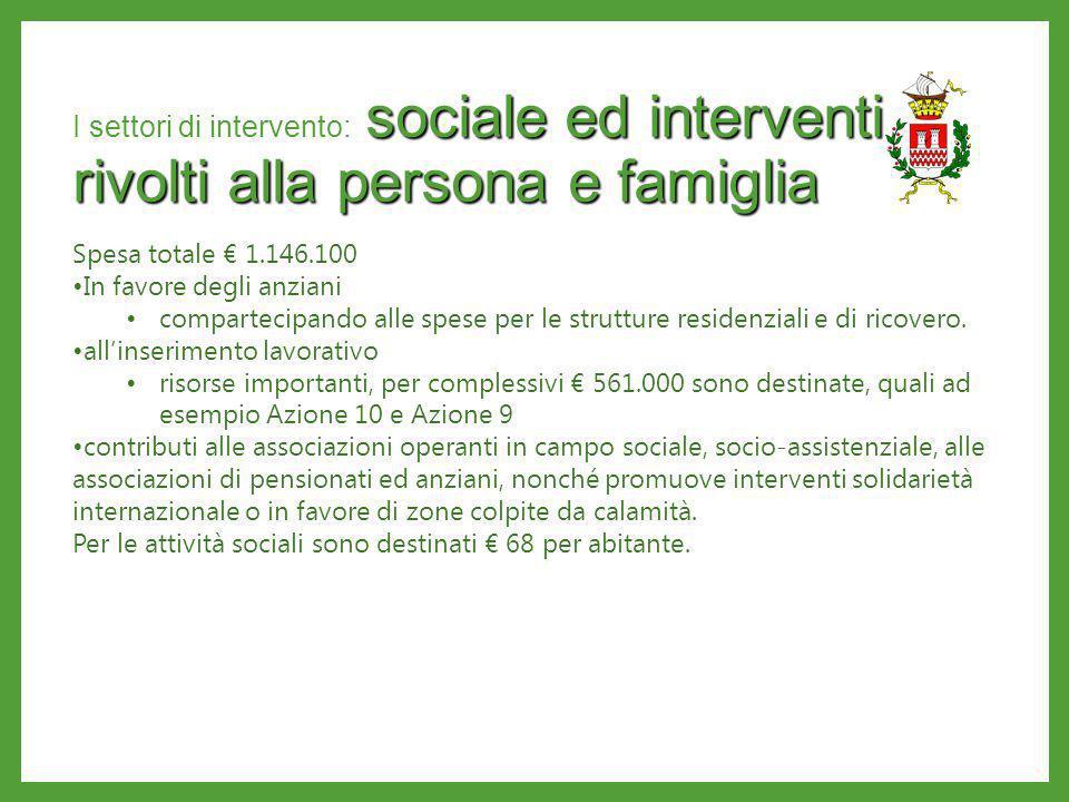 I settori di intervento: sociale ed interventi rivolti alla persona e famiglia