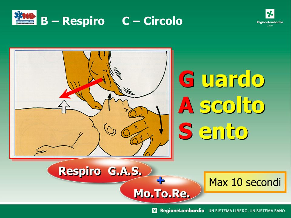 G uardo A scolto S ento Respiro G.A.S. + Mo.To.Re. Max 10 secondi