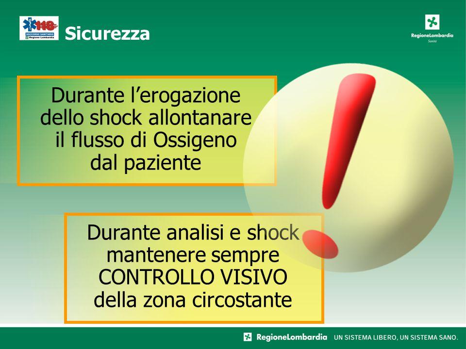 Sicurezza Durante l'erogazione dello shock allontanare il flusso di Ossigeno dal paziente.