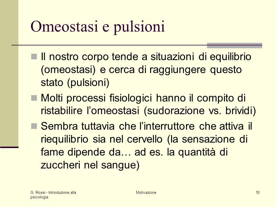 Omeostasi e pulsioni Il nostro corpo tende a situazioni di equilibrio (omeostasi) e cerca di raggiungere questo stato (pulsioni)