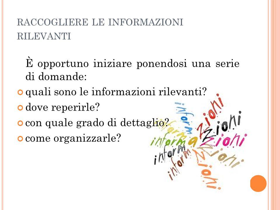 raccogliere le informazioni rilevanti