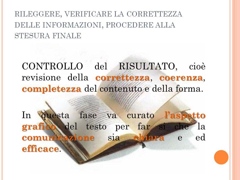 rileggere, verificare la correttezza delle informazioni, procedere alla stesura finale