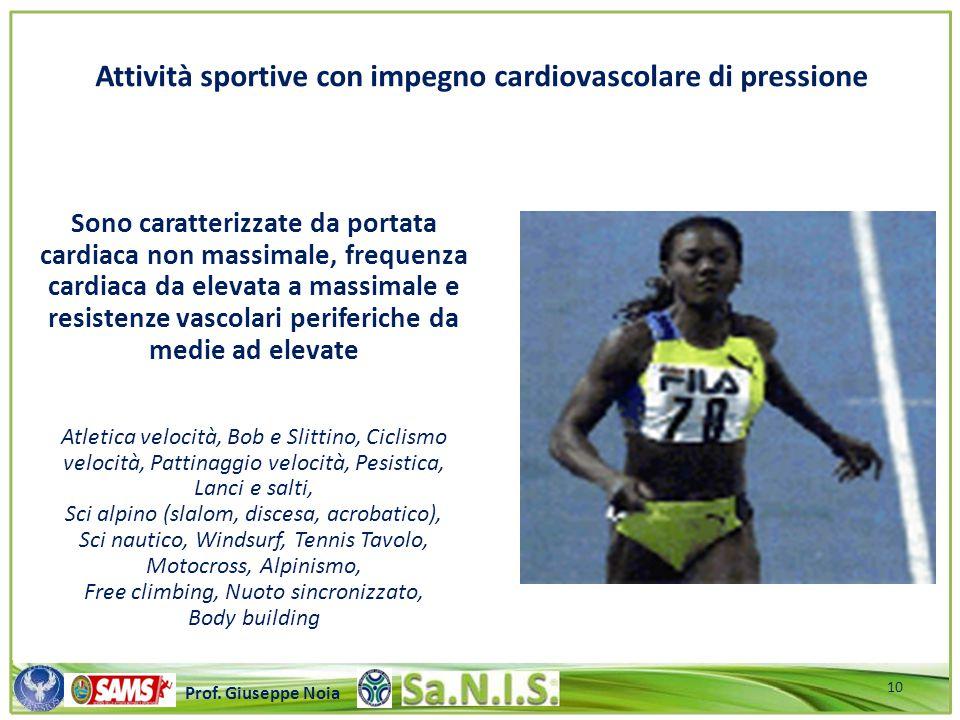Attività sportive con impegno cardiovascolare di pressione