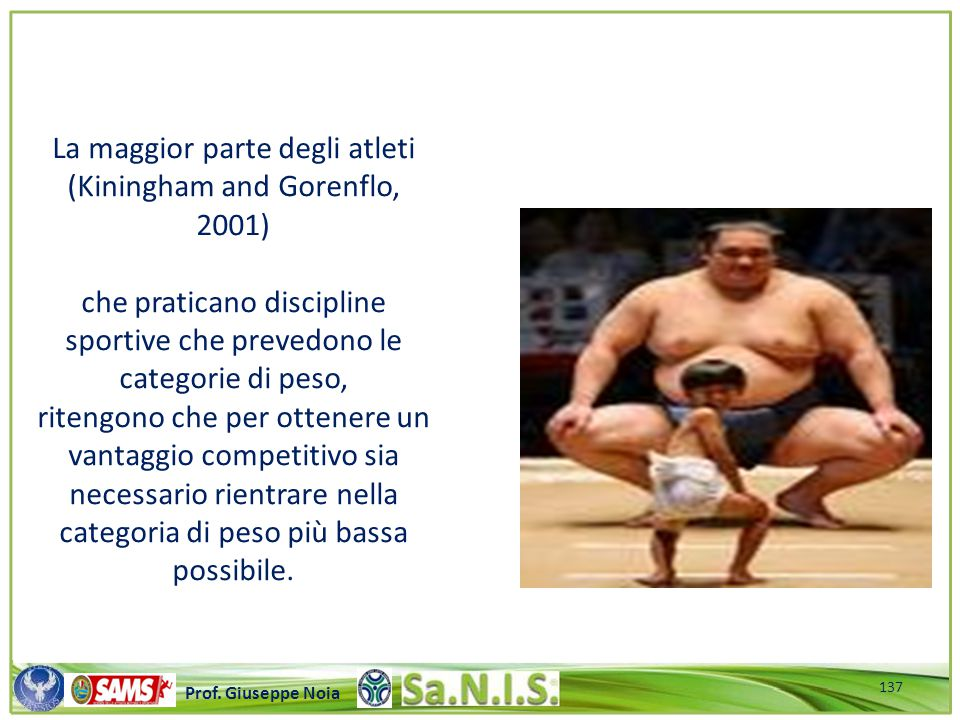 La maggior parte degli atleti (Kiningham and Gorenflo, 2001)