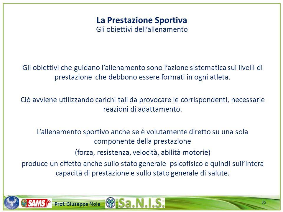 La Prestazione Sportiva Gli obiettivi dell'allenamento