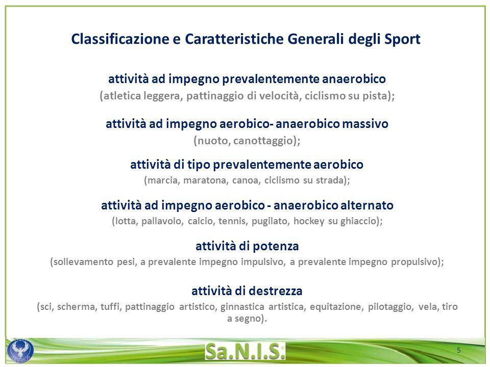 Classificazione e Caratteristiche Generali degli Sport