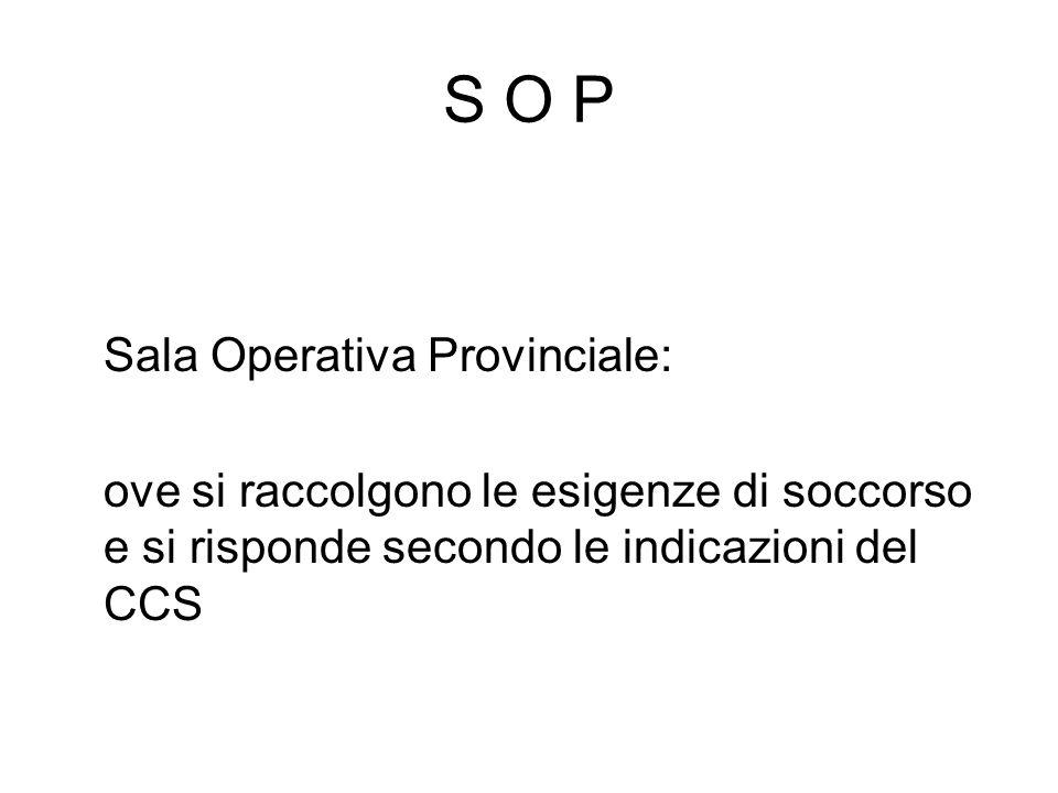 S O P Sala Operativa Provinciale: