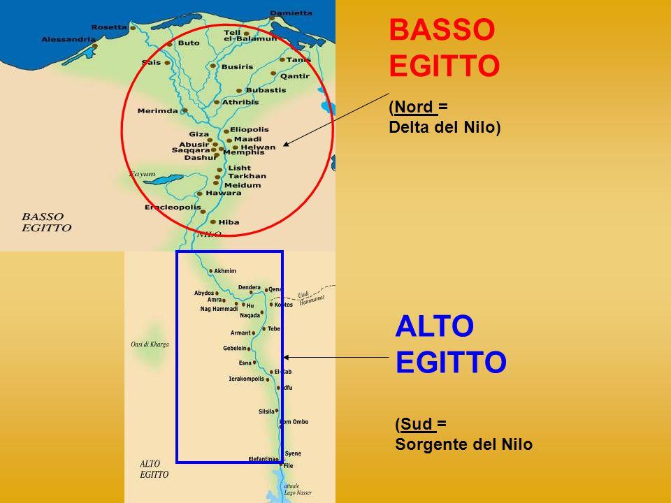 BASSO EGITTO ALTO EGITTO (Nord = Delta del Nilo) (Sud =