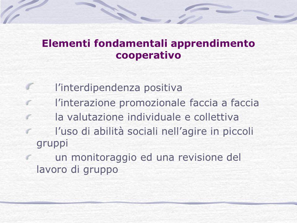 Elementi fondamentali apprendimento cooperativo