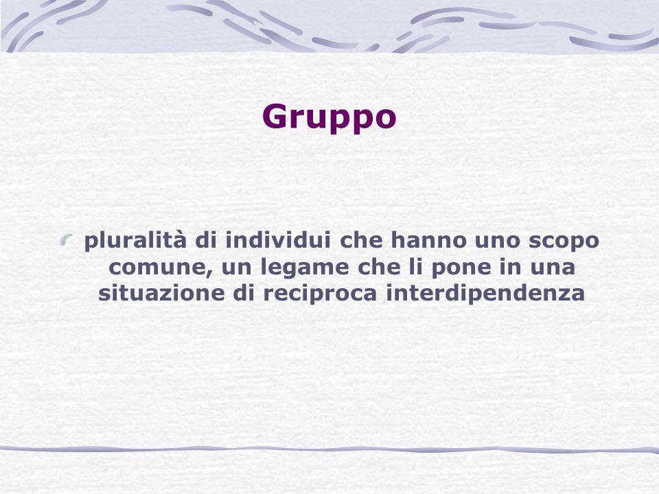 Gruppo pluralità di individui che hanno uno scopo comune, un legame che li pone in una situazione di reciproca interdipendenza.