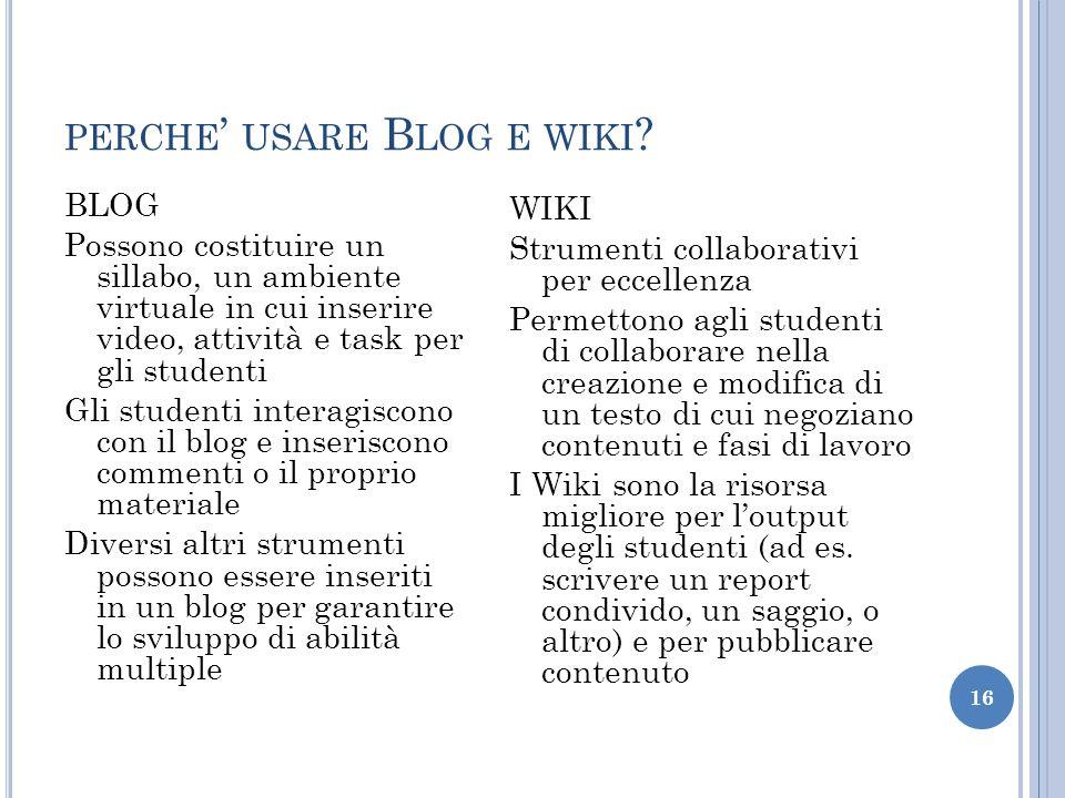 perche' usare Blog e wiki