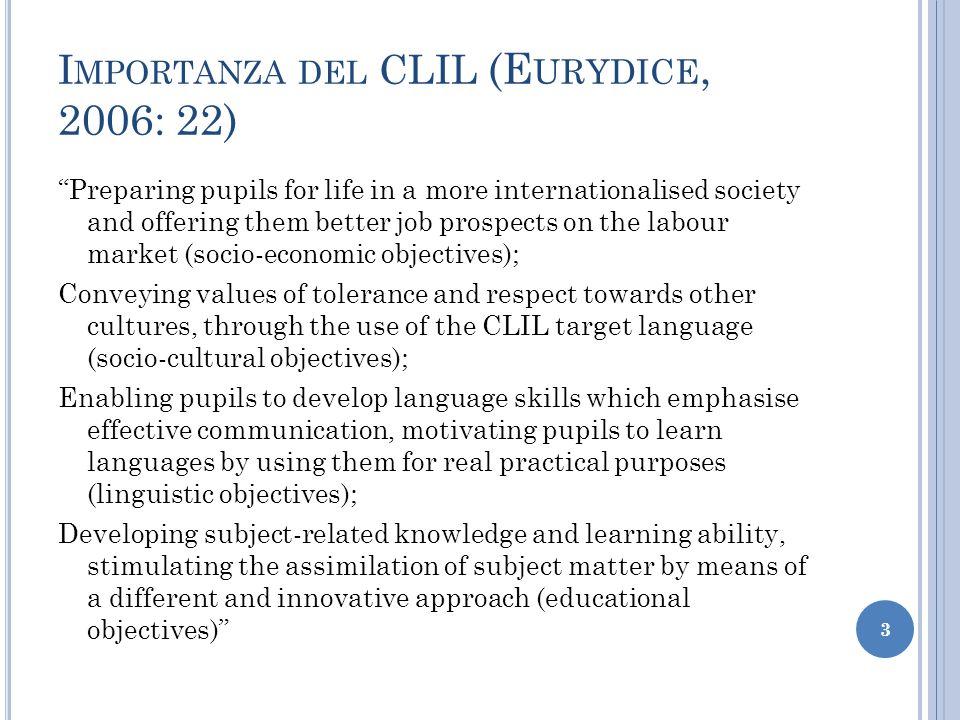 Importanza del CLIL (Eurydice, 2006: 22)