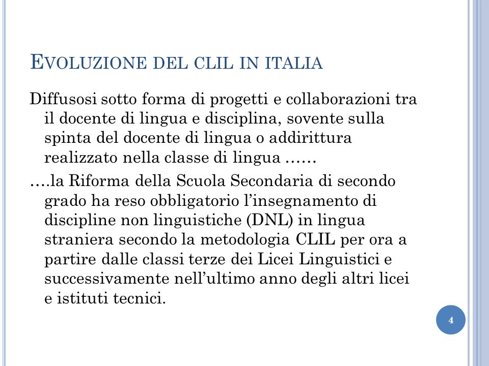 Evoluzione del clil in italia