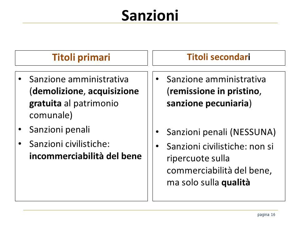 Sanzioni Titoli primari Titoli secondari
