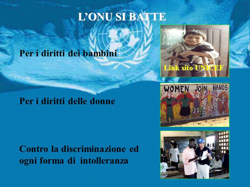 L'ONU SI BATTE Per i diritti dei bambini Per i diritti delle donne