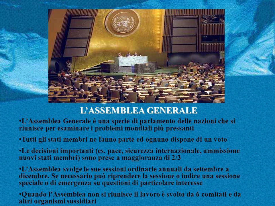 L'ASSEMBLEA GENERALE L'Assemblea Generale è una specie di parlamento delle nazioni che si riunisce per esaminare i problemi mondiali più pressanti.