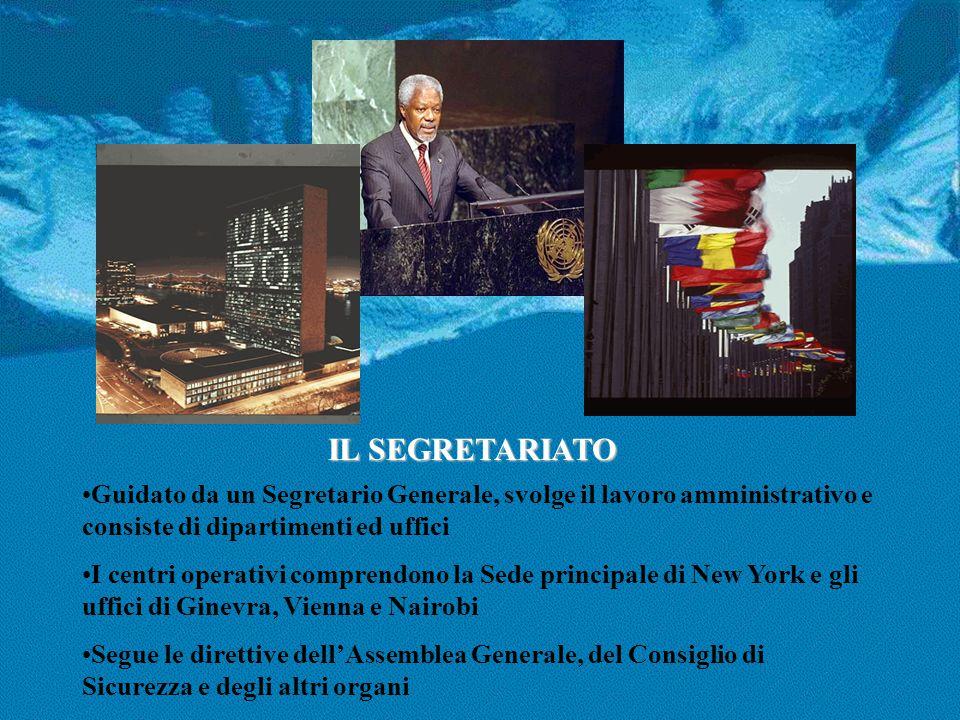 IL SEGRETARIATO Guidato da un Segretario Generale, svolge il lavoro amministrativo e consiste di dipartimenti ed uffici.