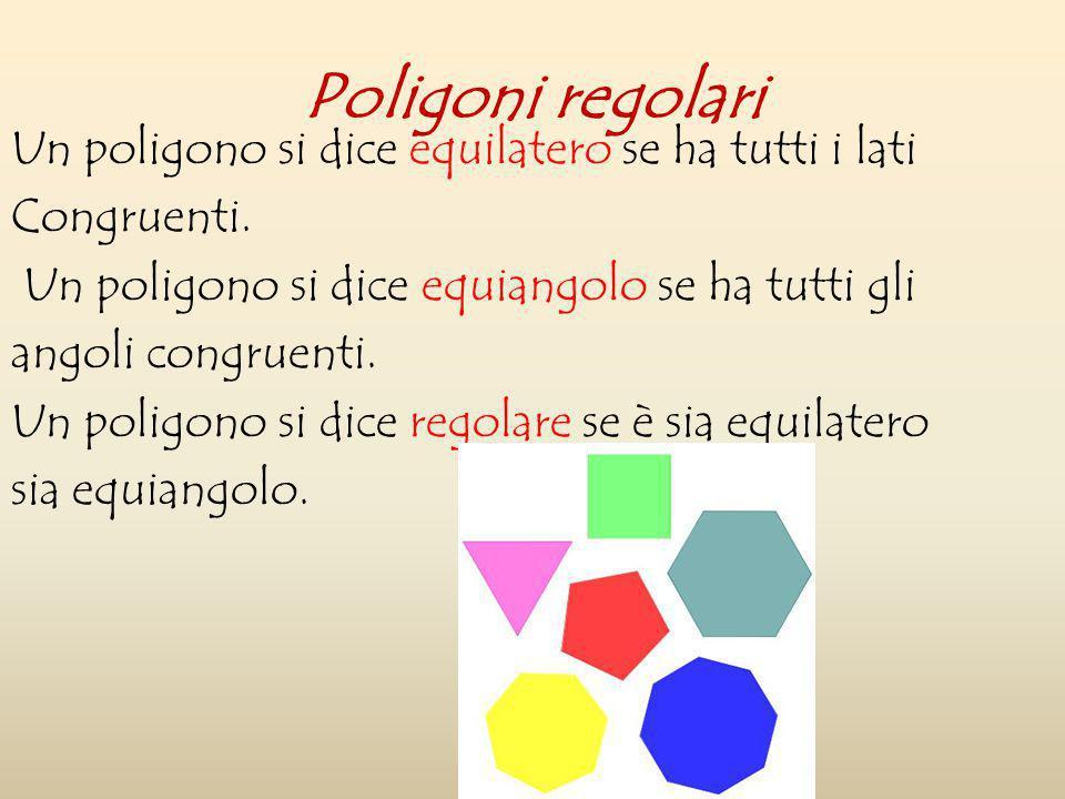 Poligoni regolari Un poligono si dice equilatero se ha tutti i lati
