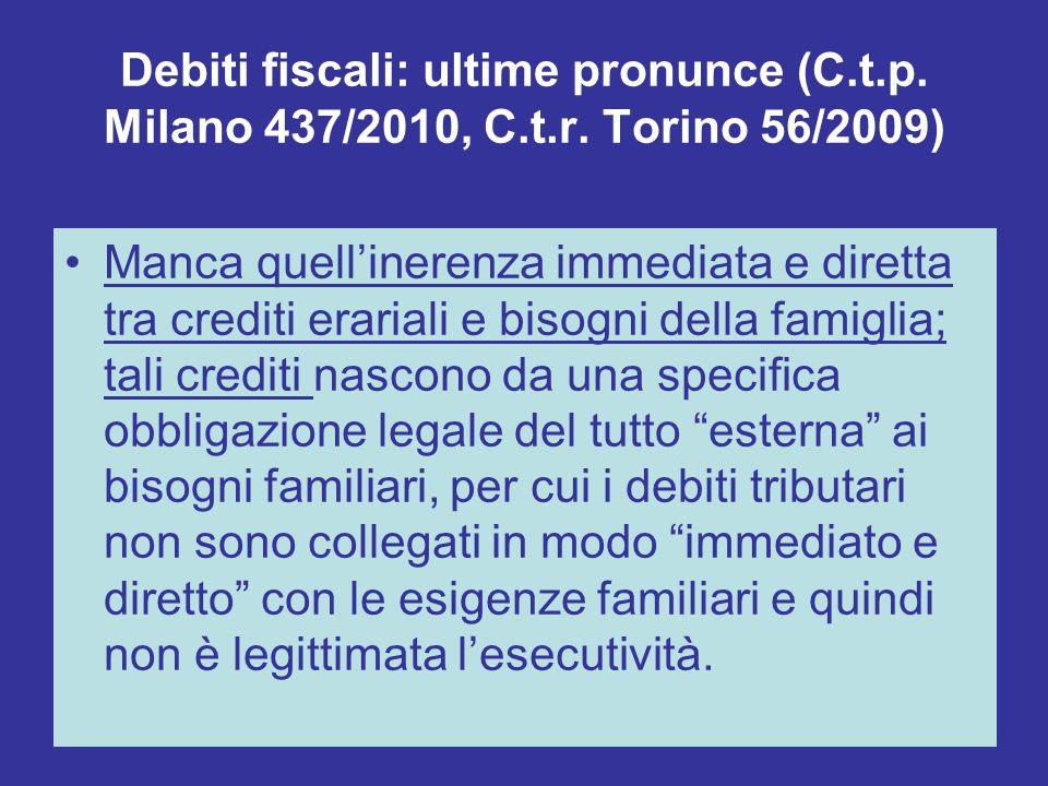 Debiti fiscali: ultime pronunce (C. t. p. Milano 437/2010, C. t. r