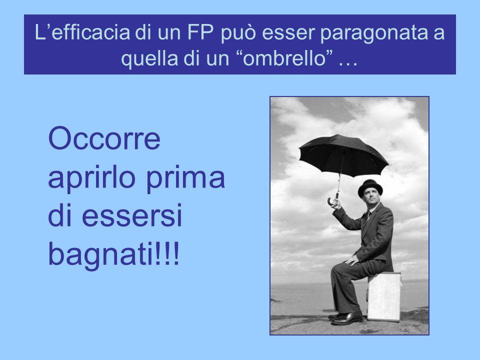 L'efficacia di un FP può esser paragonata a quella di un ombrello …
