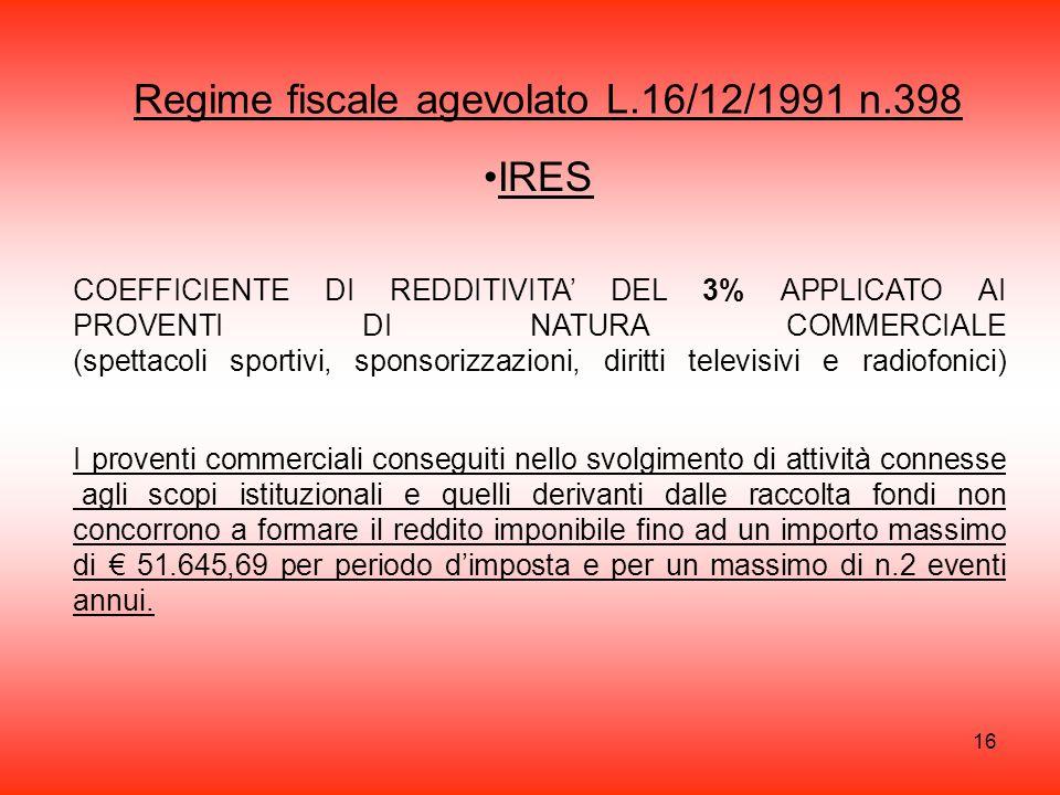 Regime fiscale agevolato L.16/12/1991 n.398