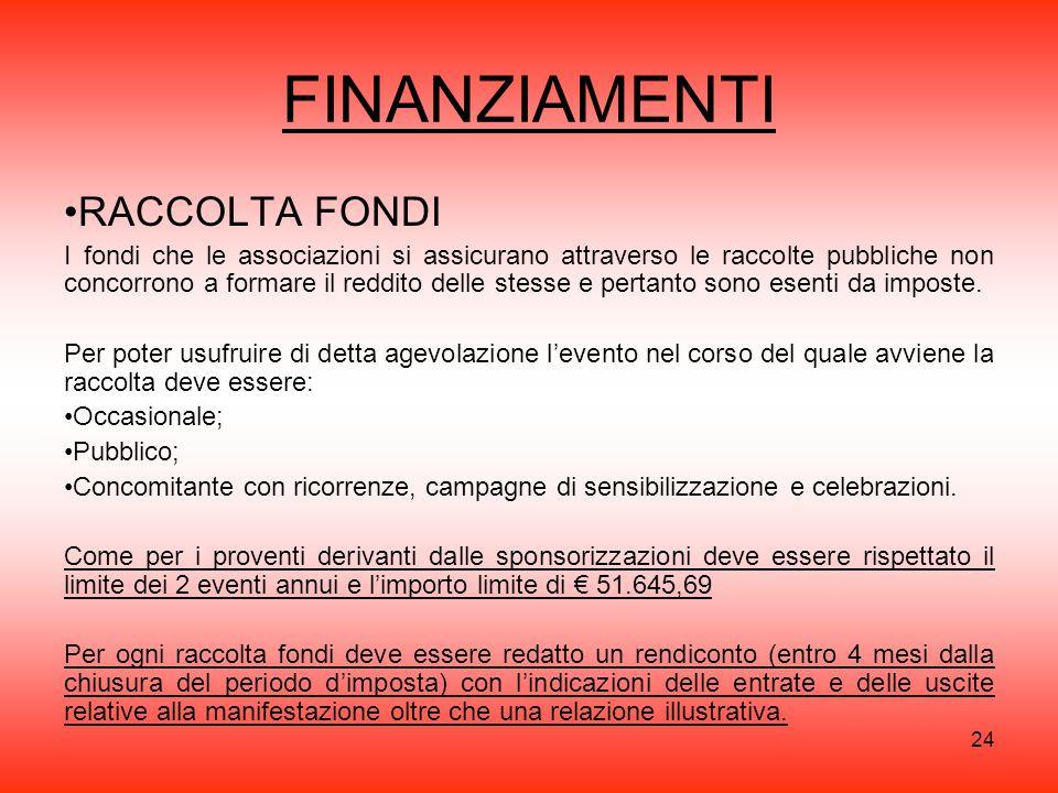 FINANZIAMENTI RACCOLTA FONDI