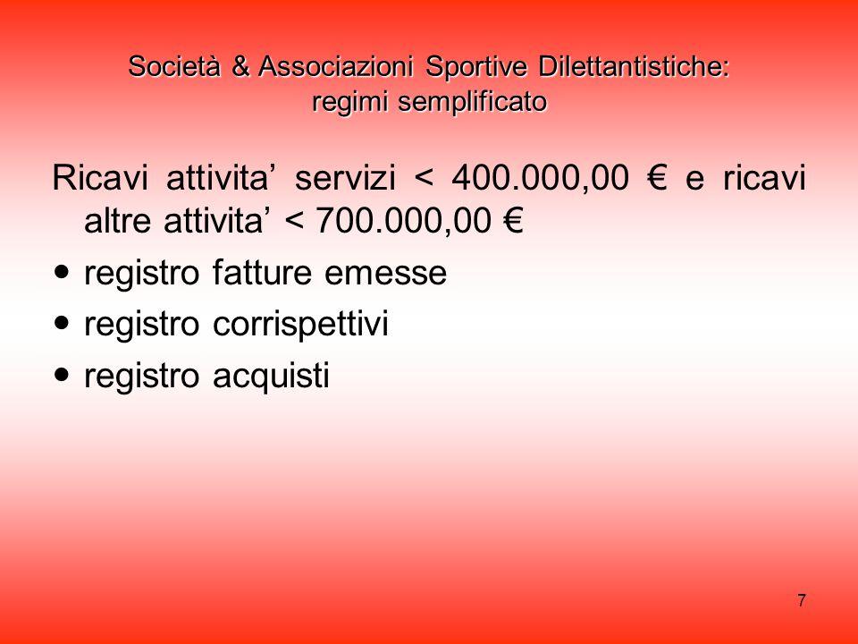 Società & Associazioni Sportive Dilettantistiche: regimi semplificato